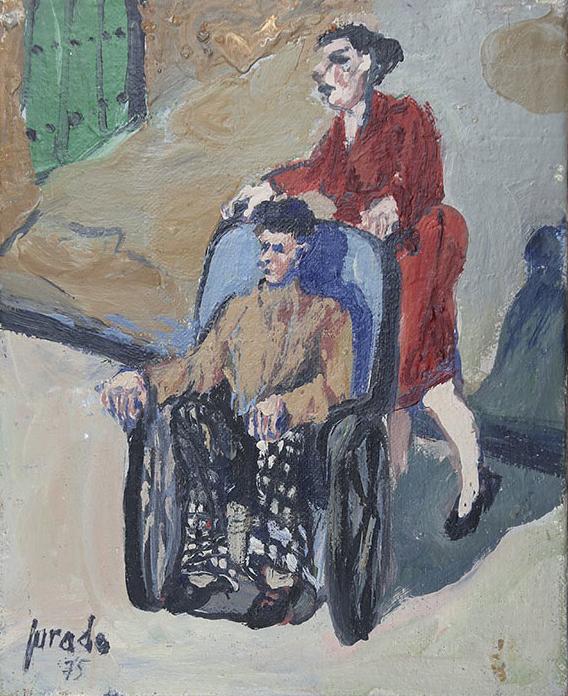A boy in a wheelchair